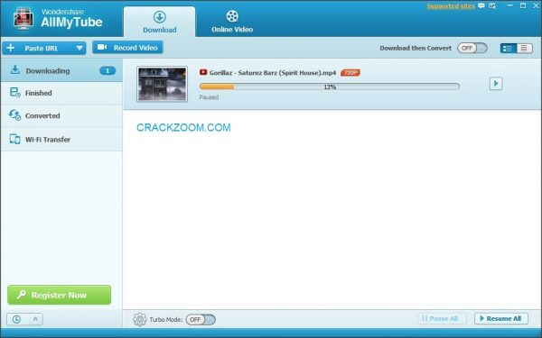 Wondershare AllMyTube 7.4.6.6 Crack + Keygen Free Download
